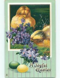 Surface Wear Pre-Linen easter CHICKS WITH COLORED EGGS AND FLOWERS k2257