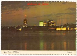 Welcome to Tulsa, Oklahoma, Arkansas River & Pedestrian Bridge, Postcard