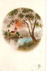 Fantasy landscape with castle Old vintge antique French postcard