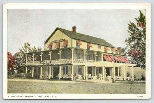 Loon Lake New York~Loon Lake Colony Hotel~Chairs on Veranda~Adirondacks~1936 PC