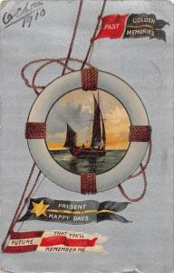 10851 Sail Ship inside Life Ring  Past Golden Memories, Present Happy Days