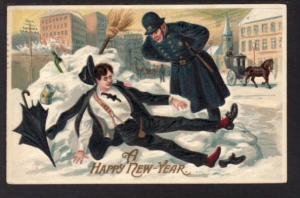 Happy New Year Drunk Policeman Postcard 5766