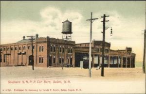Salem NH Trolley Car Barn c1910 Postcard