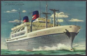 SS President Cleveland,American President Lines Postcard