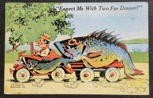 Mint Vintage Illustrated Fish Comic Postcard