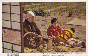 Japan Tokyo Old Woman Making Waraji Farmer's Slipper With Children