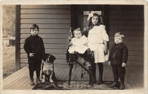 F71/ Interesting Real Photo RPPC Postcard c1910 Kids Proch Pet Dog 8