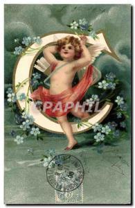 Old Postcard Fantasy Angel Letters Letter C