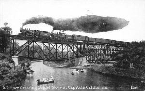 F81/ Capitola California Postcard c1910 S.P. Railroad Flyer Soquel River Bridge