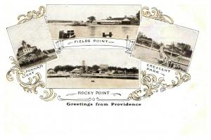 Rhode Island Providence , Greetings , Multi-View , Rocky Point , Crescent Park
