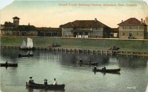 Allandale Ontario~Grand Trunk Railway Station~Boat View~1910 Postcard