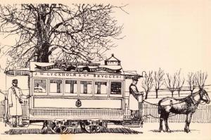 Postcard SWEDEN Art Sketch Covered horse track carriage TRAM