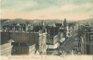 Government Street Victoria British Columbia 1909 Postcard