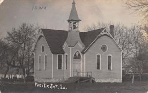 Pacific Junction IA Church w/Narrow Belltower Over Door in Corner RPPC 1910 PC