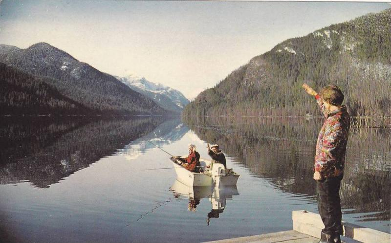 Fishing on Muchalat Lake, Gold River , Vancouver Island , B.C., Canada , 50-60s
