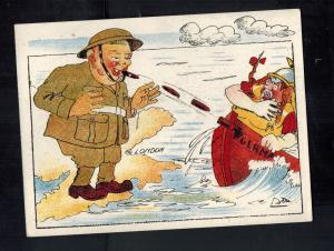 Mint WW2 Churchill UK Shooting Cigars at German Hun Invaders Postcard