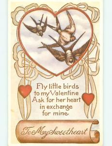 Reproduction valentine BROWN BIRDS FLYING IN A HEART r3993