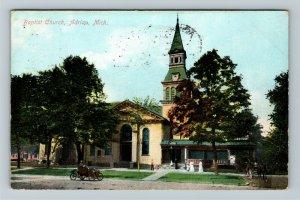 Adrian MI, Baptist Church, Vintage Michigan c1914 Postcard