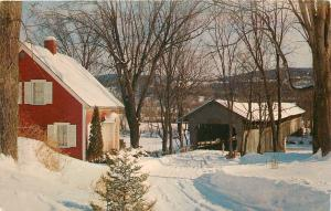 Three Unnamed Covered Bridges, New England Lady with HeadScarf~White Needs Work