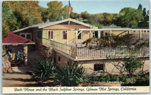 Gilman Hot Springs, California Postcard The Bath House Linen w/ 1950 Cancel