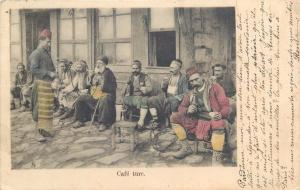 Turkey sidewalk cafe turc coffee ethnics narghile smockers 1900s postcard