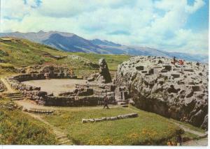 Inca Amphitheatre with its huge Monolith in Center, Cusco, Peru, unused Postcard