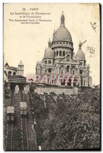 Old Postcard Paris The Sacre Coeur of Montmartre and the Funicular