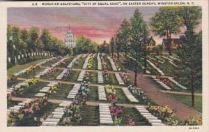 North Carolina Winston Salem Moravian Graveyard On Easter Sunday 1941 Curteich
