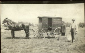 Watkins Remedies Advertising Horse Wagon & Men c1910 Real Photo Postcard