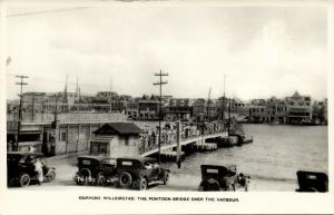 curacao, WILLEMSTAD, Pontoon Bridge Harbour Cars (1940s) Canadian Pacific Cruise