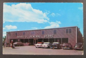 Hussey's General Store, Windsor Maine ME Postcard - 1950's Cars!! (F6)