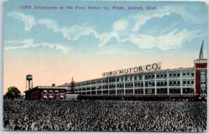 1920s Detroit, Michigan Postcard 12,000 Employees at the FORD MOTOR CO. Plant