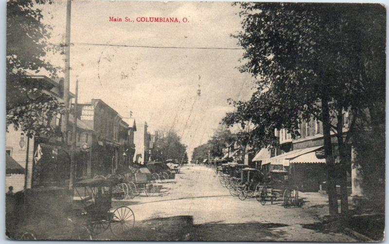 Columbiana Ohio Postcard MAIN STREET Downtown Scene Horse Carts w/ 1914 Cancel