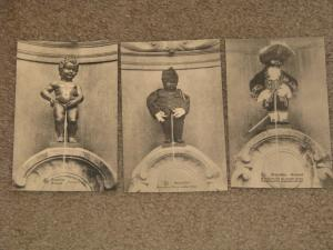 Brussels, Little Boy Statue Peeing-3 different Views, unused vintage cards