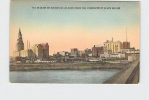 PPC POSTCARD CONNECTICUT HARTFORD SKYLINE AS SEEN FROM THE CONNECTICUT RIVER BRI