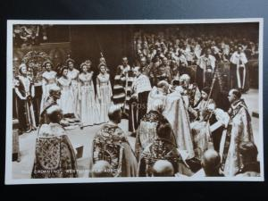 Royal Coronation THE CROWNING, WESTMINSTER ABBEY 1953 RP Valentine C39