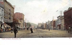 Reading Pennsylvania~Penn Street~Hardware Store~Clothing~Folks Crossing~1905 PC