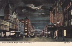 Ohio Columbus North High Street At Night
