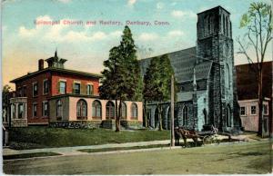DANBURY, CT Connecticut  EPISCOPAL CHURCH  & Rectory   1919   Postcard