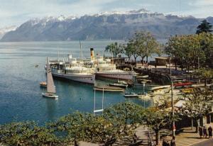 Switzerland, Suisse, OUCHY-LAUSANNE, Le Port et les Alpes de Savoie, Postcard