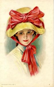 Fashion - Lady With Yellow Hat, Red Bow