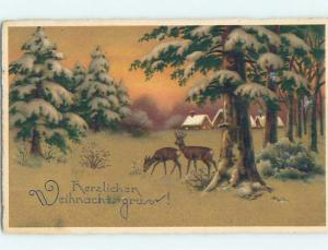 Pre-Linen Christmas foreign DEER UNDER SNOWY TREES IN THE FOREST HL8750