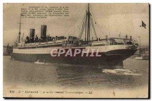 Postcard Old Ship Boat L & # 39Espagne of Cie Generale Transatlantique