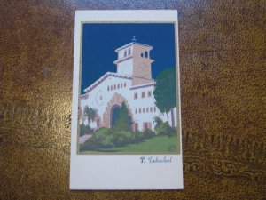 Santa Barbara CA Serigraph Hand-Made Postcard Sheehan