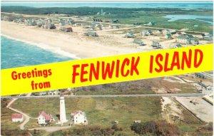 Fenwick Island Delaware Greetings Split View Postcard 1960s