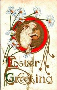 EASTER GREETINGS POSTCARD - RABBIT BUNNY EGG FLOWERS - VINTAGE - PC