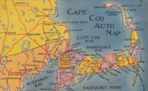 Auto Map Of Cape Cod Massachusetts