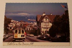 Vintage Postcard San Francisco cable car Hyde Street old autos ocean view ships