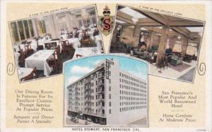 Lobby & Dining Room Interior Hotel Stewart San Francisco California Curteich