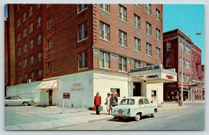 Poughkeepsie New York~Poughkeepsie Inn~Hotel Bell Hop Carries Luggage~1950s Car